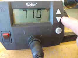 Adjusting temperature on the temperature controlled iron